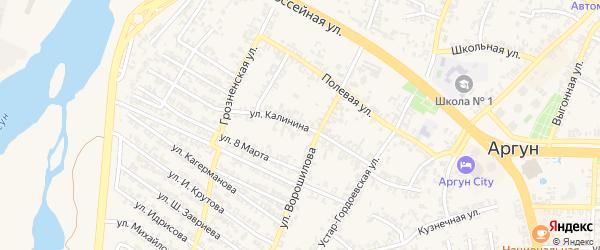 Переулок М.Калинина на карте Аргуна с номерами домов