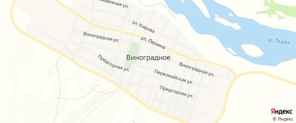 Карта Виноградного села в Чечне с улицами и номерами домов