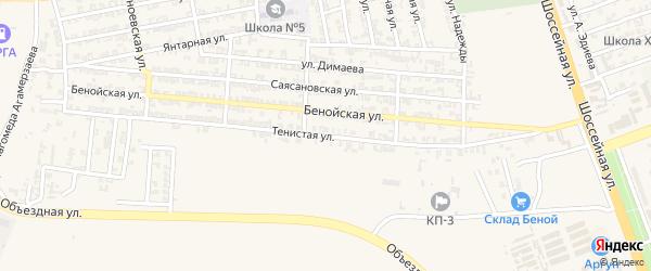 Тенистая улица на карте Аргуна с номерами домов