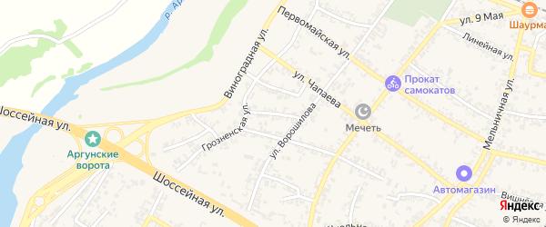 Надречный переулок на карте Аргуна с номерами домов