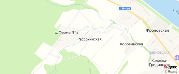 Карта Рассохинской деревни в Архангельской области с улицами и номерами домов