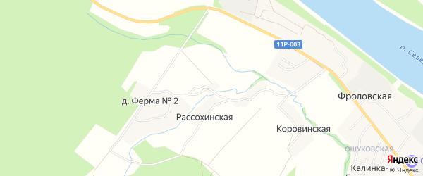 Карта Семеновской деревни в Архангельской области с улицами и номерами домов