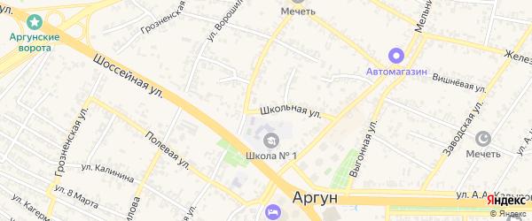Школьная улица на карте Аргуна с номерами домов