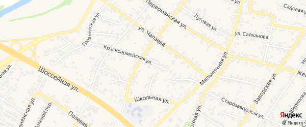 Красноармейский переулок на карте Аргуна с номерами домов