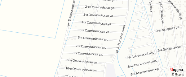 6-я Олимпийская улица на карте Шали с номерами домов