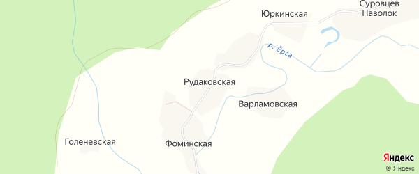 Карта Рудаковской деревни в Архангельской области с улицами и номерами домов
