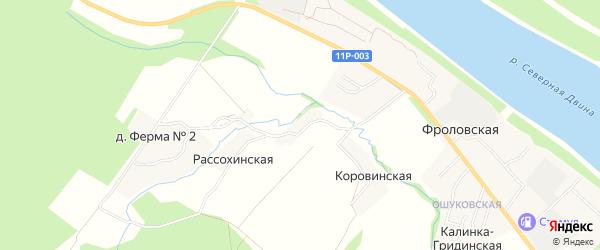 Карта Коровинской деревни в Архангельской области с улицами и номерами домов