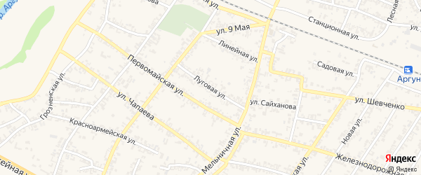 Луговая улица на карте Аргуна с номерами домов