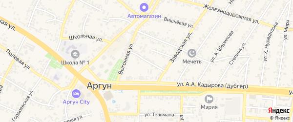 Переулок 1-й М.Висаитова на карте Аргуна с номерами домов