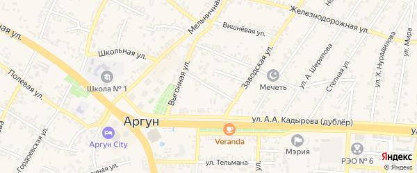 Переулок 1-й Эльмурзаева на карте Аргуна с номерами домов