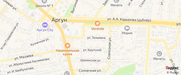 Переулок Тельмана на карте Грозного с номерами домов