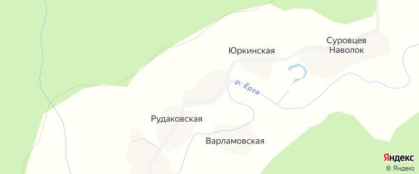 Карта Лопатинской деревни в Архангельской области с улицами и номерами домов