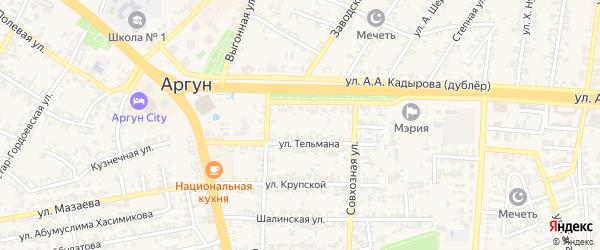Теплоцентральная улица на карте Аргуна с номерами домов