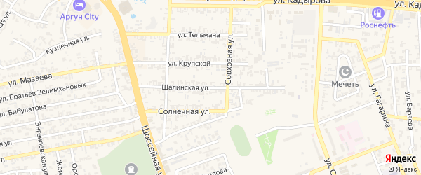 Шалинская улица на карте села Мескер-Юрт с номерами домов