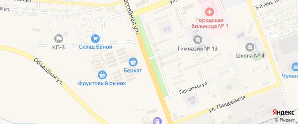 Шоссейная улица на карте села Мескер-Юрт с номерами домов