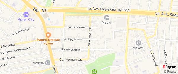 Совхозная улица на карте Аргуна с номерами домов