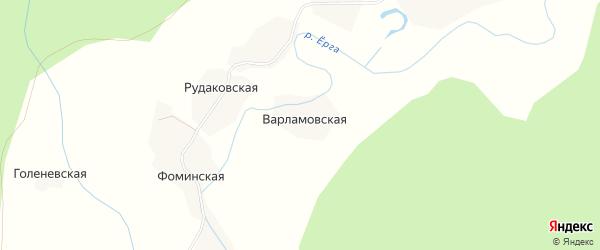 Карта Варламовской деревни в Архангельской области с улицами и номерами домов