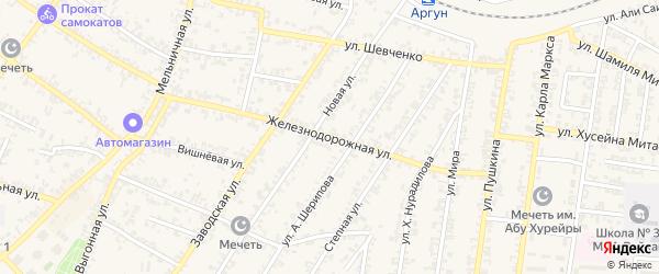 Железнодорожная улица на карте Аргуна с номерами домов