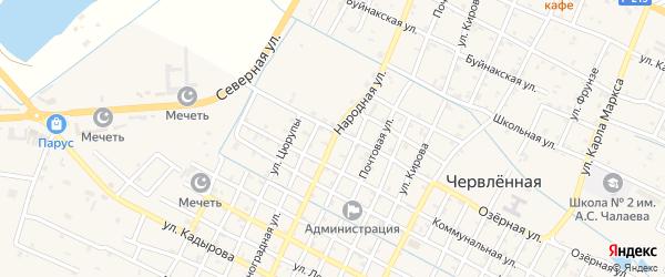 Народная улица на карте Червленной станицы с номерами домов