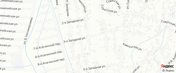 Новочеченская улица на карте Шали с номерами домов