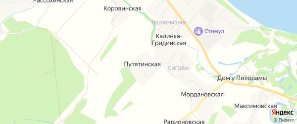 Карта Путятинской деревни в Архангельской области с улицами и номерами домов