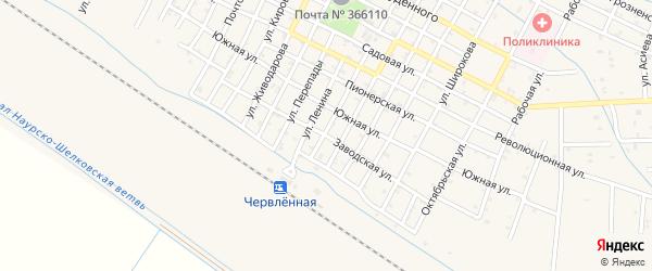 Заводская улица на карте Червленной станицы с номерами домов