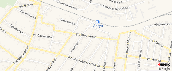 Улица Т.Шевченко на карте Аргуна с номерами домов