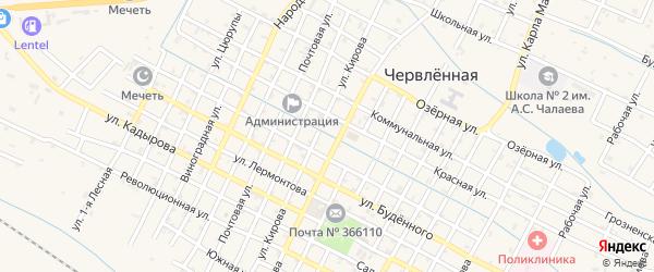 Комсомольская улица на карте Червленной станицы с номерами домов