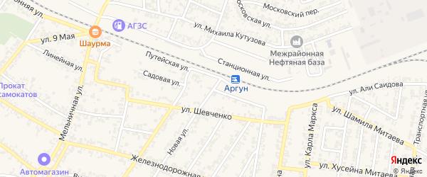 Садовая улица на карте Аргуна с номерами домов
