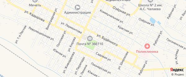 Улица Лермонтова на карте поселка Парабоч с номерами домов