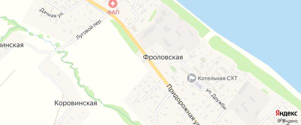 Придорожная улица на карте Фроловской деревни с номерами домов