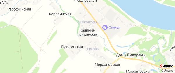 Карта Калинки-Гридинской деревни в Архангельской области с улицами и номерами домов