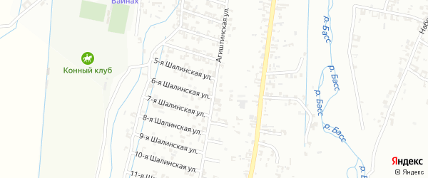 Агиштинская улица на карте Шали с номерами домов