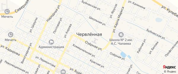Школьный переулок на карте Червленной станицы с номерами домов
