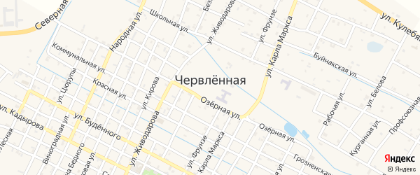 Улица Кулебякина на карте Червленной станицы с номерами домов