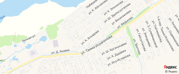 Улица А.Бетербиева на карте Аргуна с номерами домов