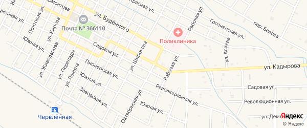 Октябрьская улица на карте Червленной станицы с номерами домов