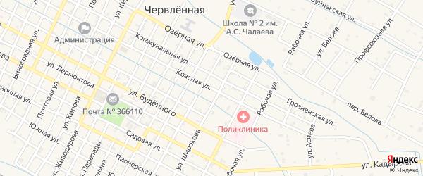 Красная улица на карте Червленной станицы с номерами домов
