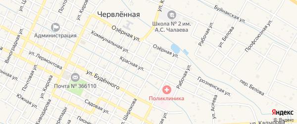 Коммунальная улица на карте Червленной станицы с номерами домов