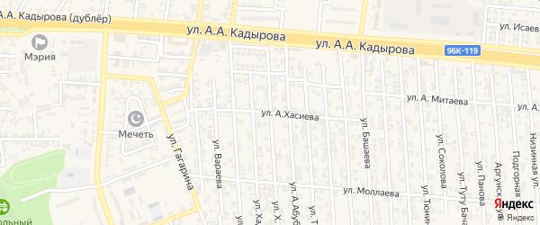 Улица А.Хасиева на карте Аргуна с номерами домов