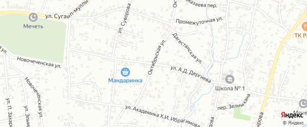 Октябрьская улица на карте Шали с номерами домов
