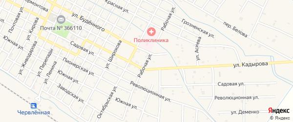 Рабочая улица на карте Червленной станицы с номерами домов