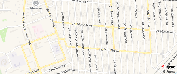 Переулок 1-й Ш.Абубакарова на карте Аргуна с номерами домов