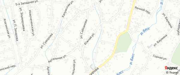 Южная улица на карте Шали с номерами домов