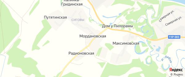 Карта Мордановской деревни в Архангельской области с улицами и номерами домов