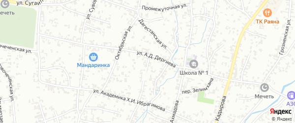 Школьный переулок на карте Шали с номерами домов