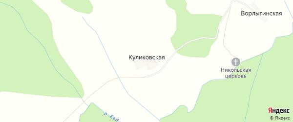 Карта Куликовской деревни в Архангельской области с улицами и номерами домов