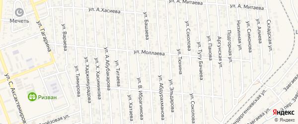 Улица Баширова на карте села Мескер-Юрт с номерами домов