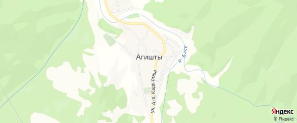 Карта села Агишты в Чечне с улицами и номерами домов