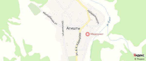 Улица А-Х.Кадырова на карте села Агишты с номерами домов